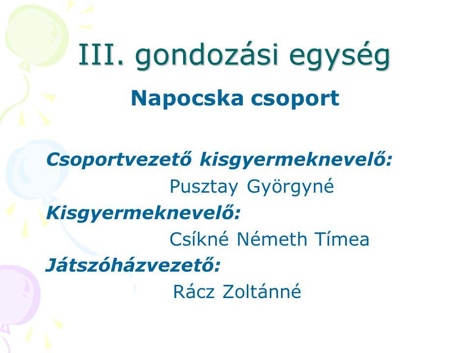 III. gondozási egység Napocska csoport Csoportvezető kisgyermeknevelő: