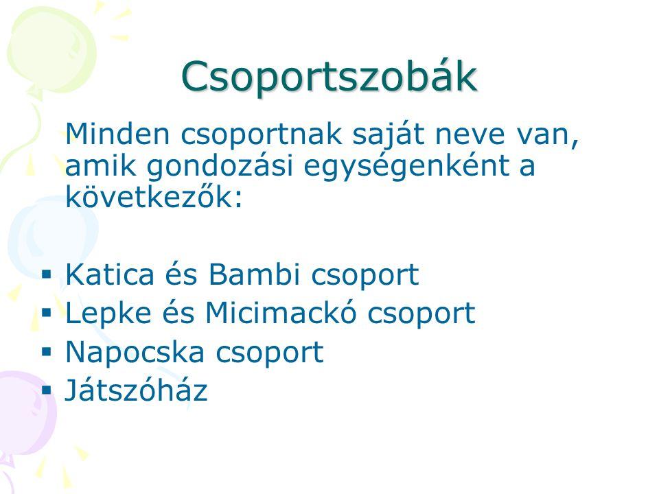 Csoportszobák Minden csoportnak saját neve van, amik gondozási egységenként a következők: Katica és Bambi csoport.