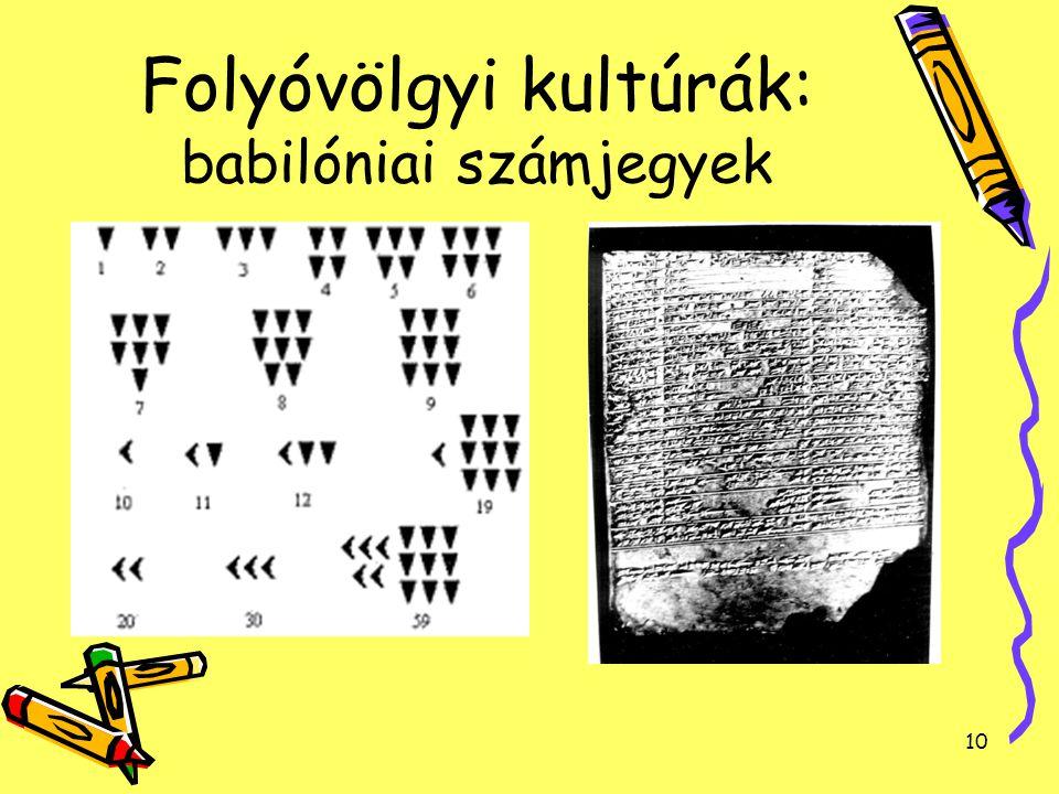 Folyóvölgyi kultúrák: babilóniai számjegyek