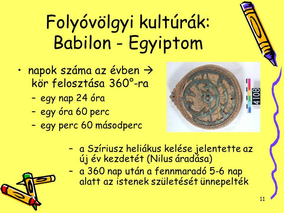 Folyóvölgyi kultúrák: Babilon - Egyiptom