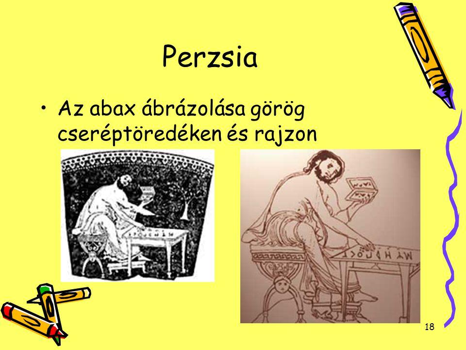 Perzsia Az abax ábrázolása görög cseréptöredéken és rajzon