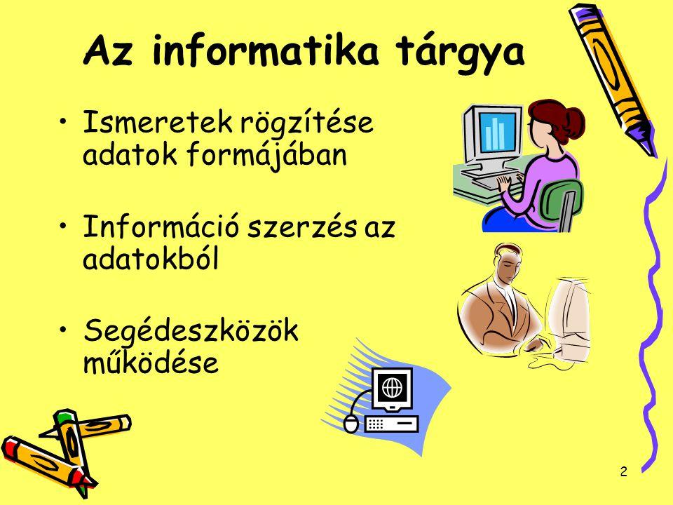Az informatika tárgya Ismeretek rögzítése adatok formájában