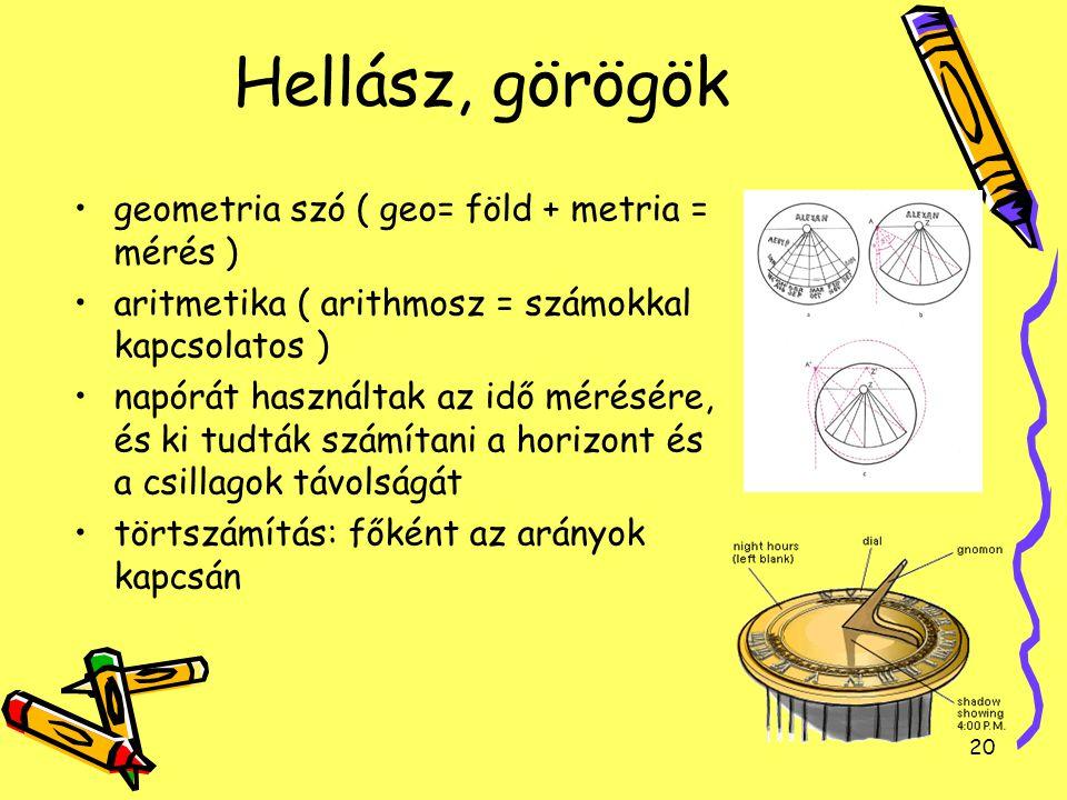 Hellász, görögök geometria szó ( geo= föld + metria = mérés )