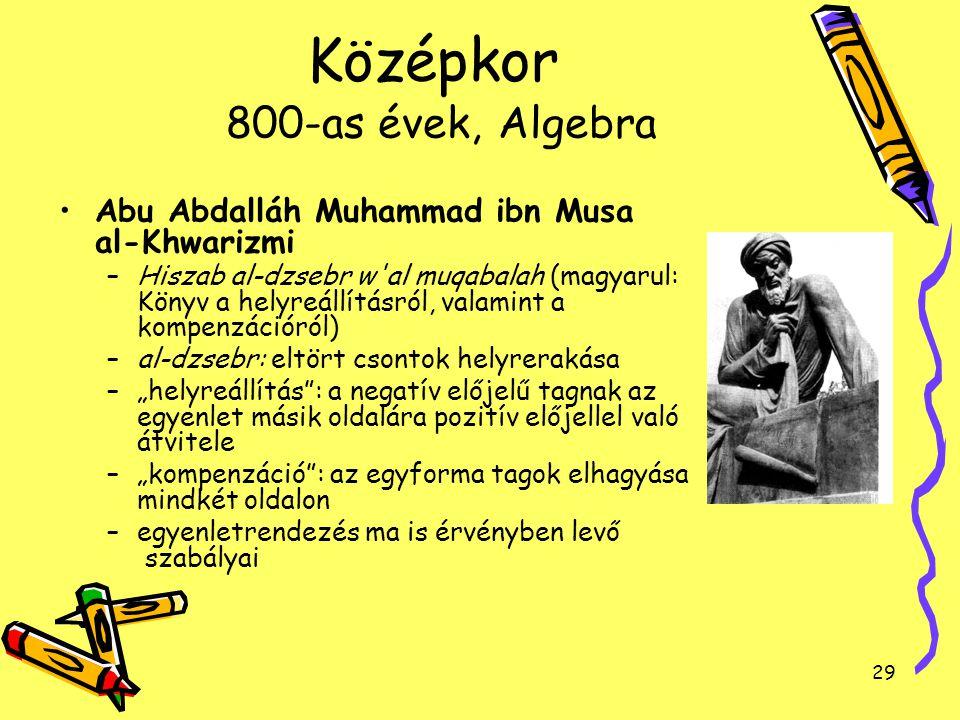 Középkor 800-as évek, Algebra
