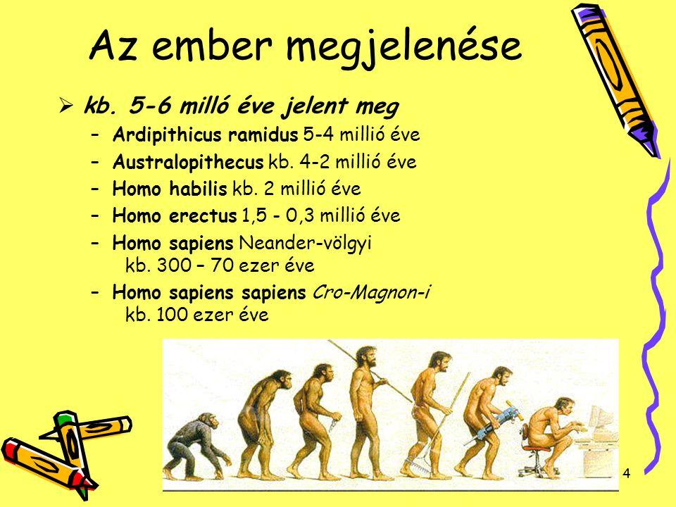 Az ember megjelenése kb. 5-6 milló éve jelent meg