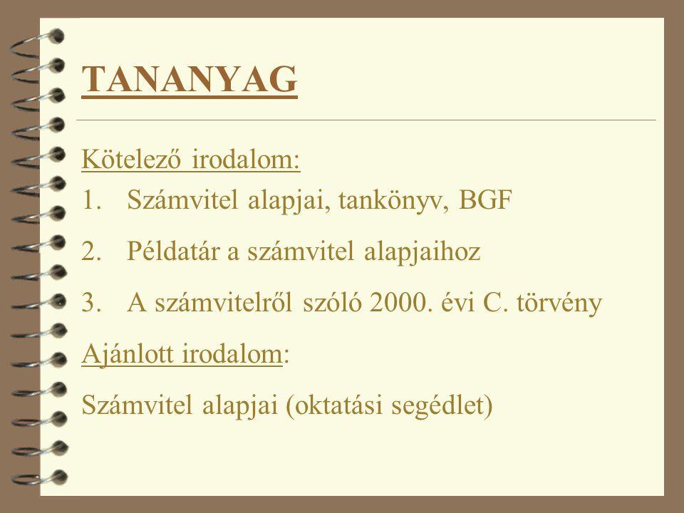 TANANYAG Kötelező irodalom: Számvitel alapjai, tankönyv, BGF