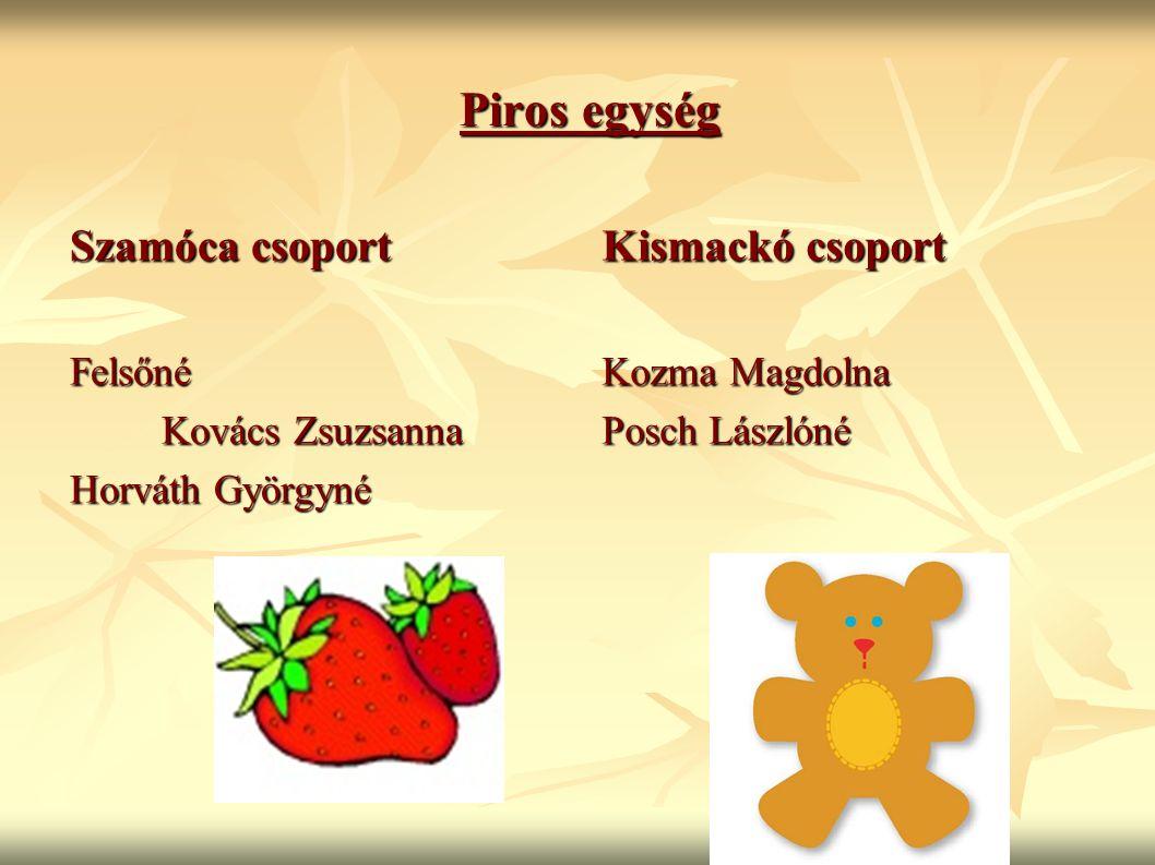 Piros egység Szamóca csoport Kismackó csoport Felsőné Kovács Zsuzsanna