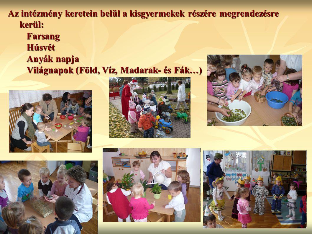 Az intézmény keretein belül a kisgyermekek részére megrendezésre kerül: Farsang Húsvét Anyák napja Világnapok (Föld, Víz, Madarak- és Fák…)