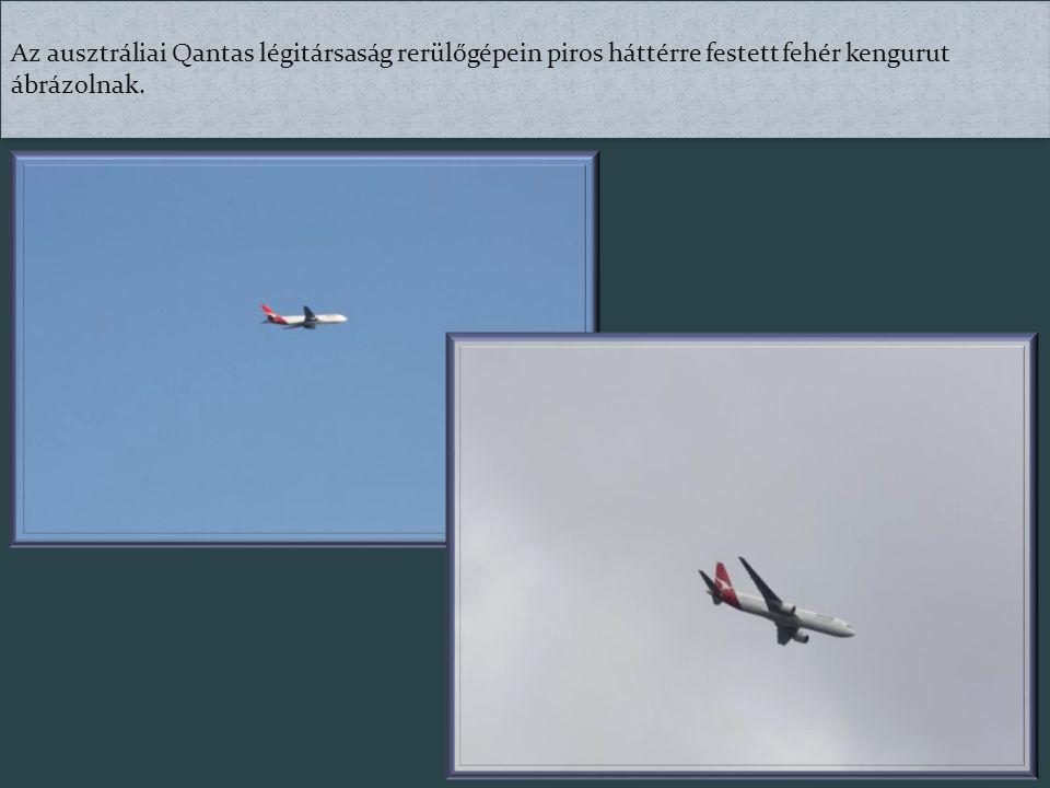 Az ausztráliai Qantas légitársaság rerülőgépein piros háttérre festett fehér kengurut ábrázolnak.