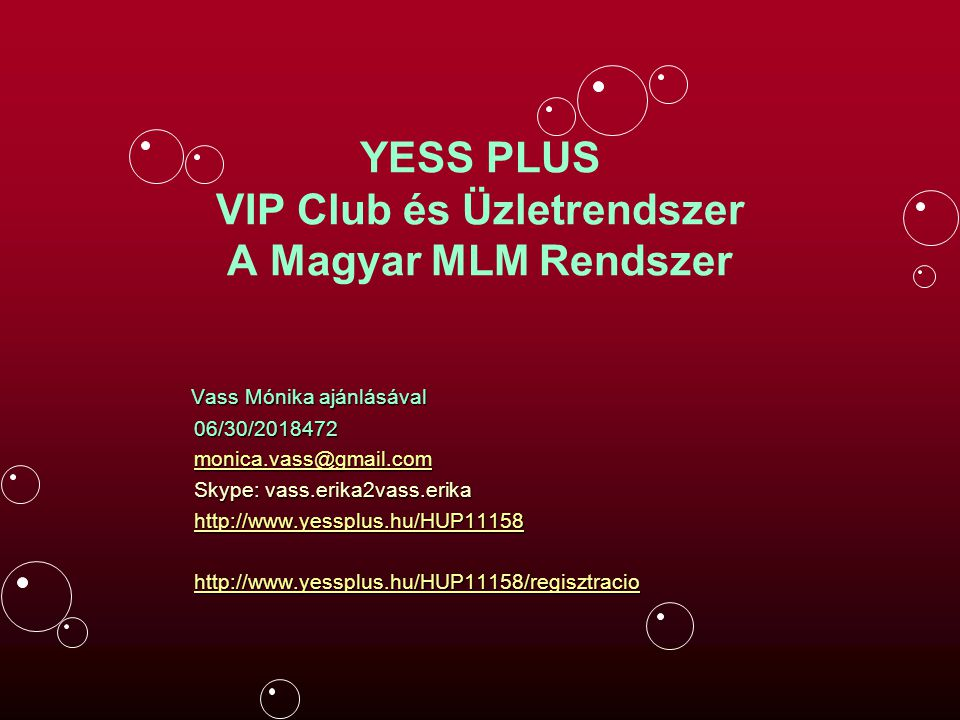 YESS PLUS VIP Club és Üzletrendszer A Magyar MLM Rendszer