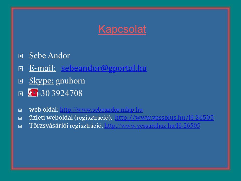 Kapcsolat Sebe Andor E-mail: sebeandor@gportal.hu Skype: gnuhorn