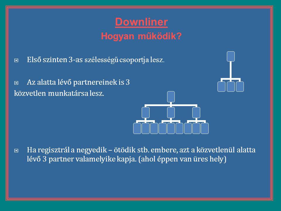 Downliner Hogyan működik Első szinten 3-as szélességű csoportja lesz.