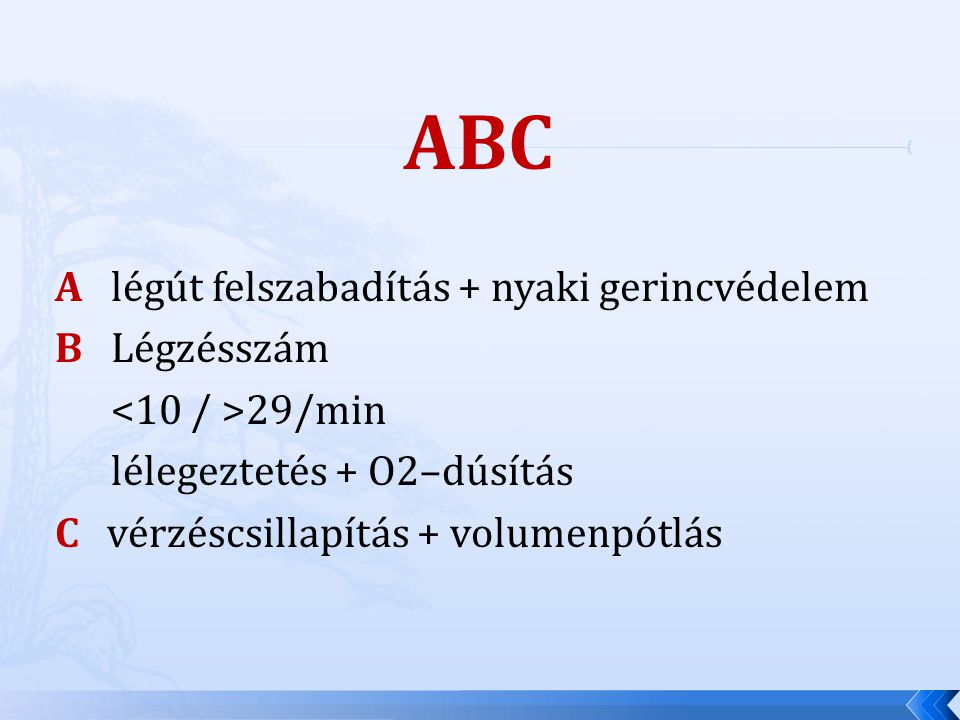 ABC A légút felszabadítás + nyaki gerincvédelem B Légzésszám