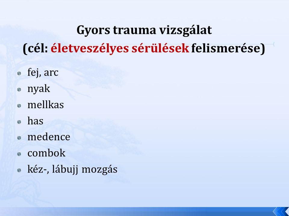 Gyors trauma vizsgálat (cél: életveszélyes sérülések felismerése)