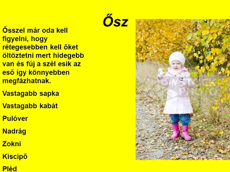 Ősz Ősszel már oda kell figyelni, hogy rétegesebben kell őket öltöztetni mert hidegebb van és fúj a szél esik az eső így könnyebben megfázhatnak.