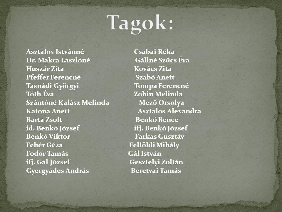 Tagok: Asztalos Istvánné Csabai Réka