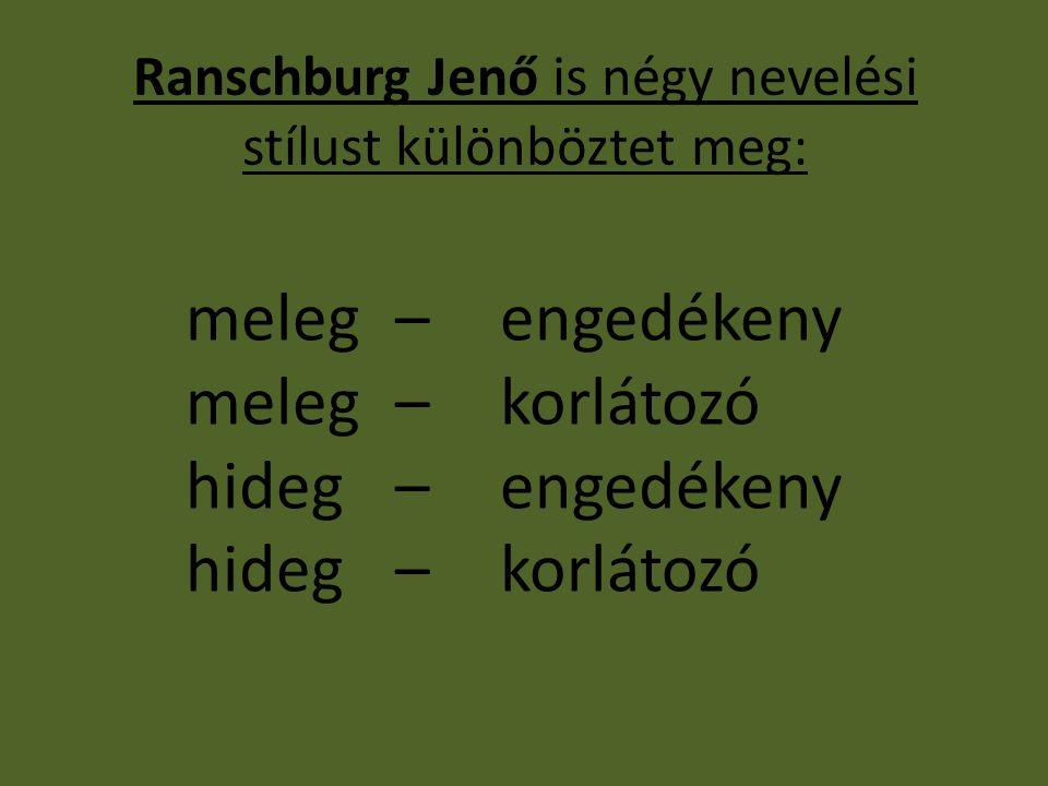 Ranschburg Jenő is négy nevelési stílust különböztet meg: