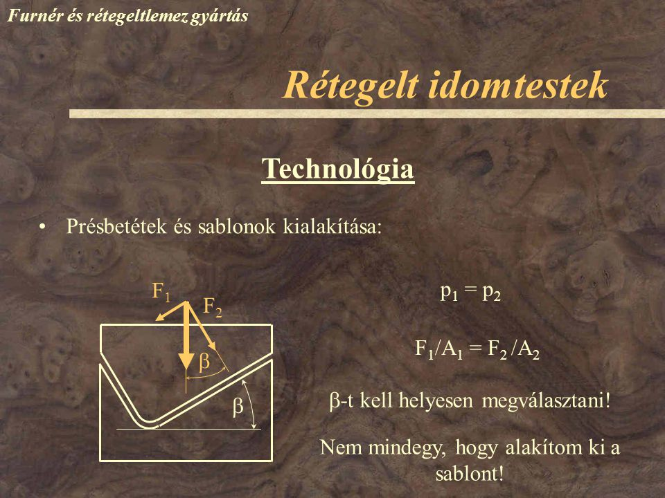 Rétegelt idomtestek Technológia Présbetétek és sablonok kialakítása: