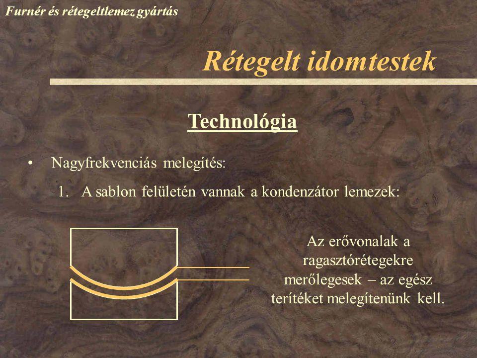 Rétegelt idomtestek Technológia Nagyfrekvenciás melegítés: