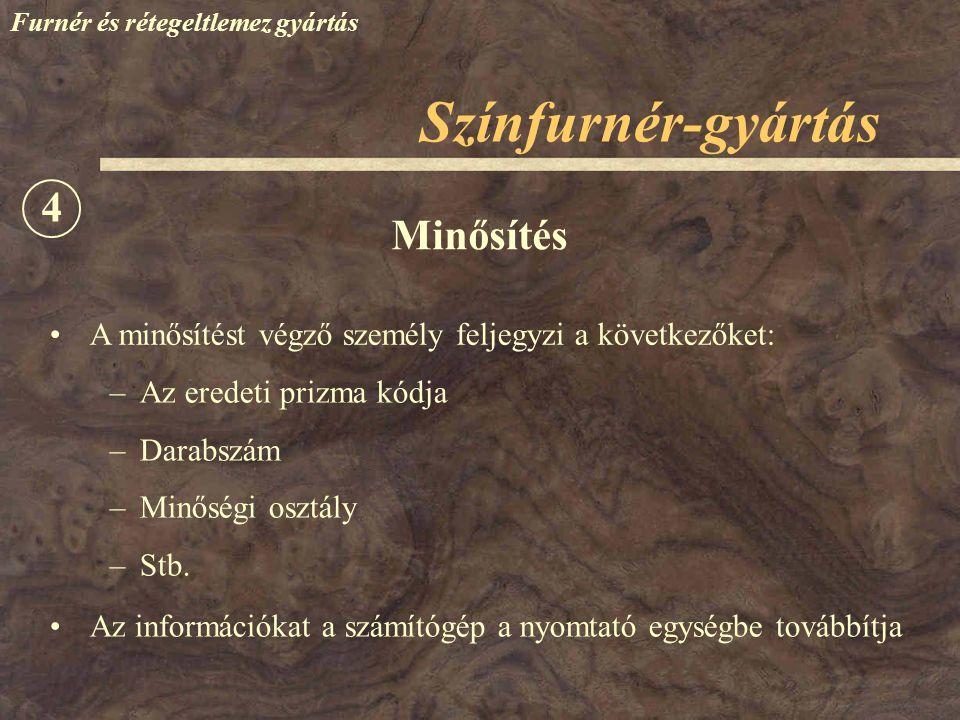 Színfurnér-gyártás 4 Minősítés