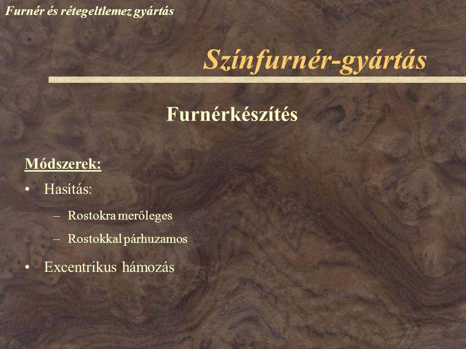 Színfurnér-gyártás Furnérkészítés Módszerek: Hasítás: