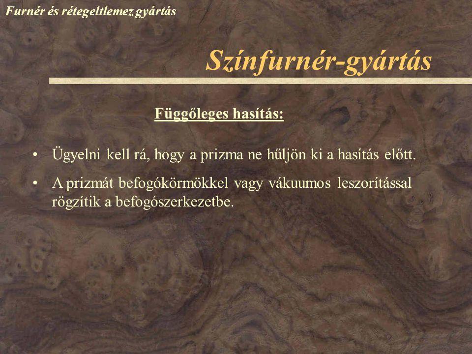 Színfurnér-gyártás Függőleges hasítás: