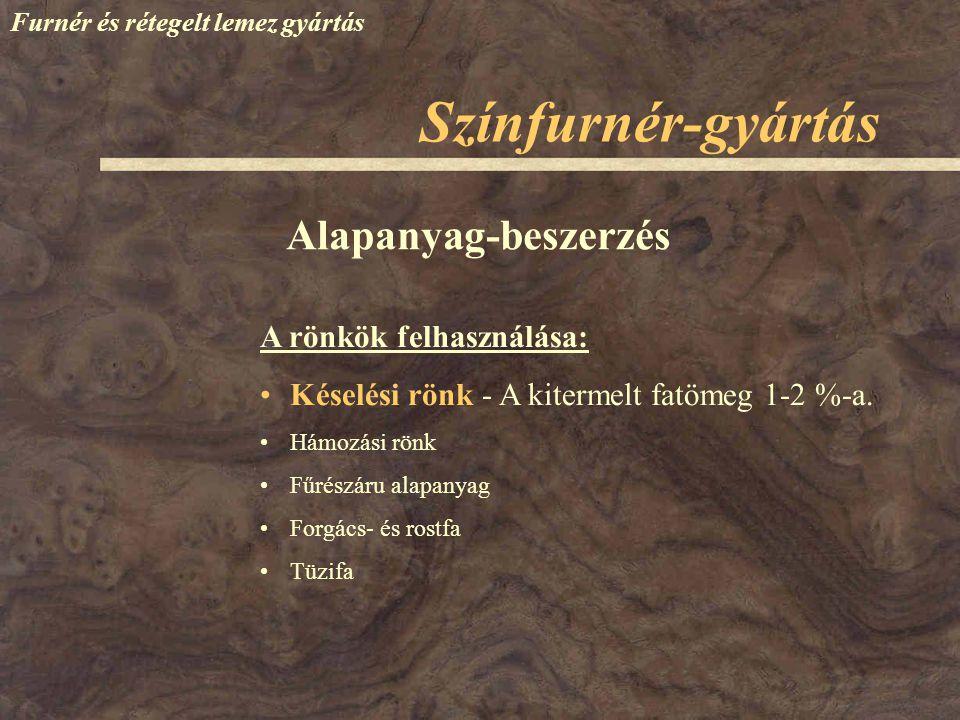 Színfurnér-gyártás Alapanyag-beszerzés A rönkök felhasználása: