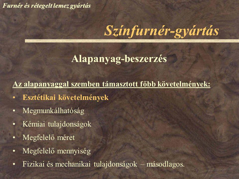 Színfurnér-gyártás Alapanyag-beszerzés
