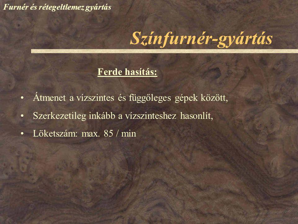 Színfurnér-gyártás Ferde hasítás: