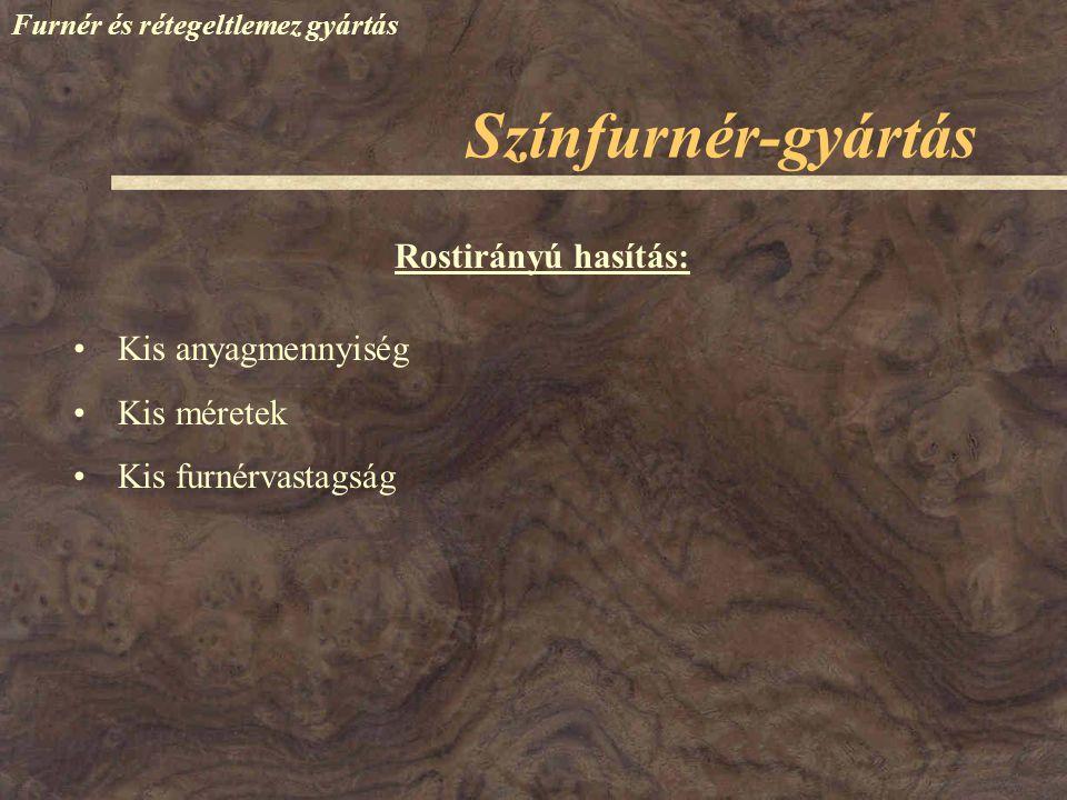 Színfurnér-gyártás Rostirányú hasítás: Kis anyagmennyiség Kis méretek