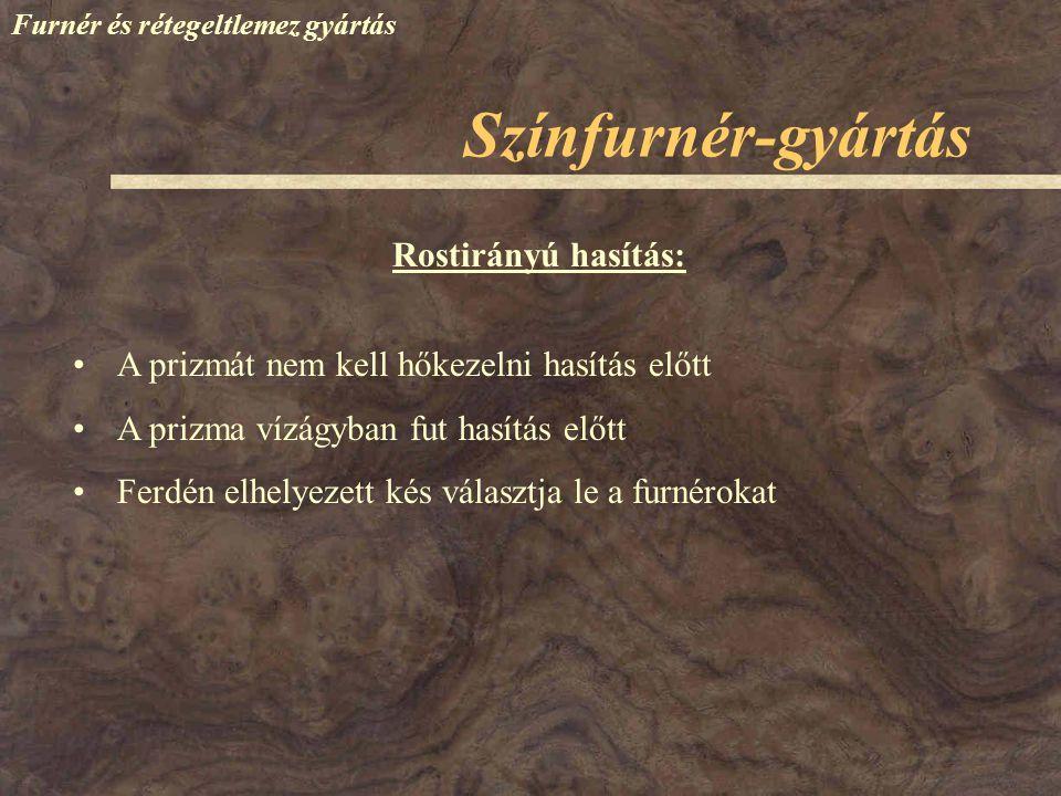 Színfurnér-gyártás Rostirányú hasítás: