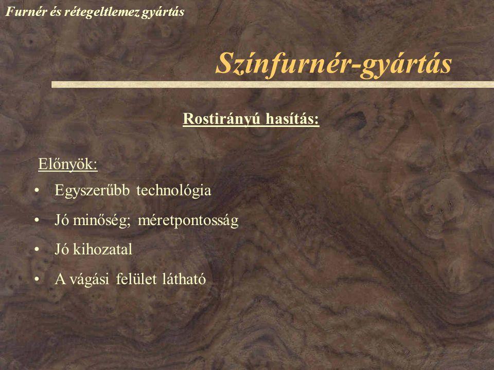 Színfurnér-gyártás Rostirányú hasítás: Előnyök: Egyszerűbb technológia