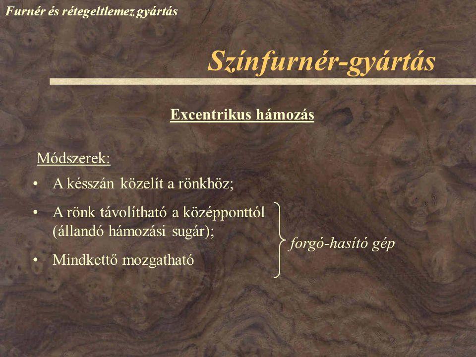 Színfurnér-gyártás Excentrikus hámozás Módszerek: