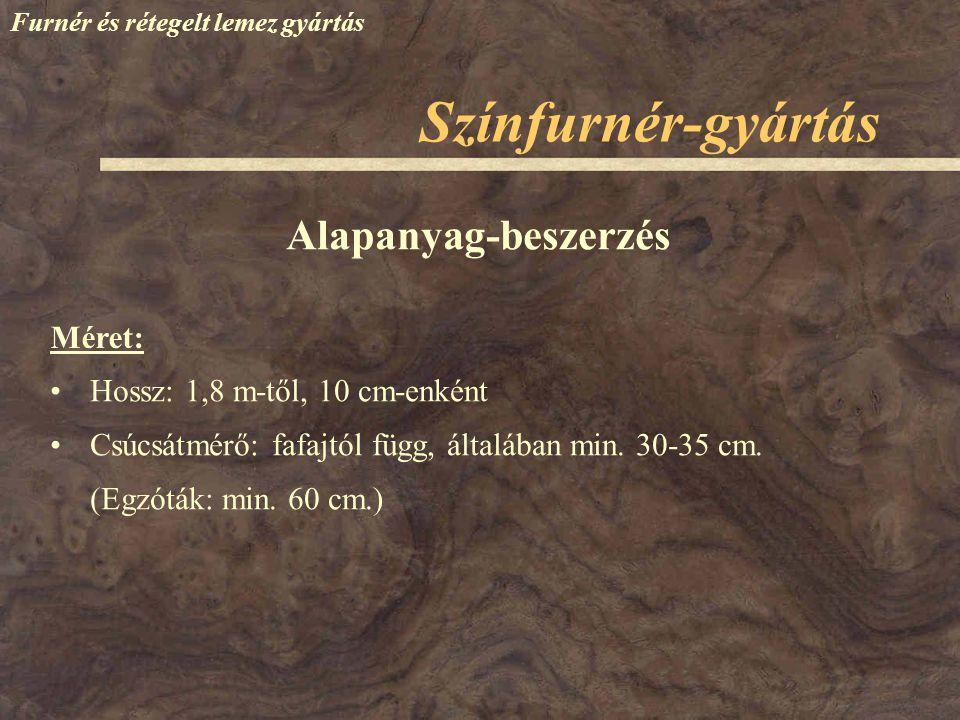 Színfurnér-gyártás Alapanyag-beszerzés Méret: