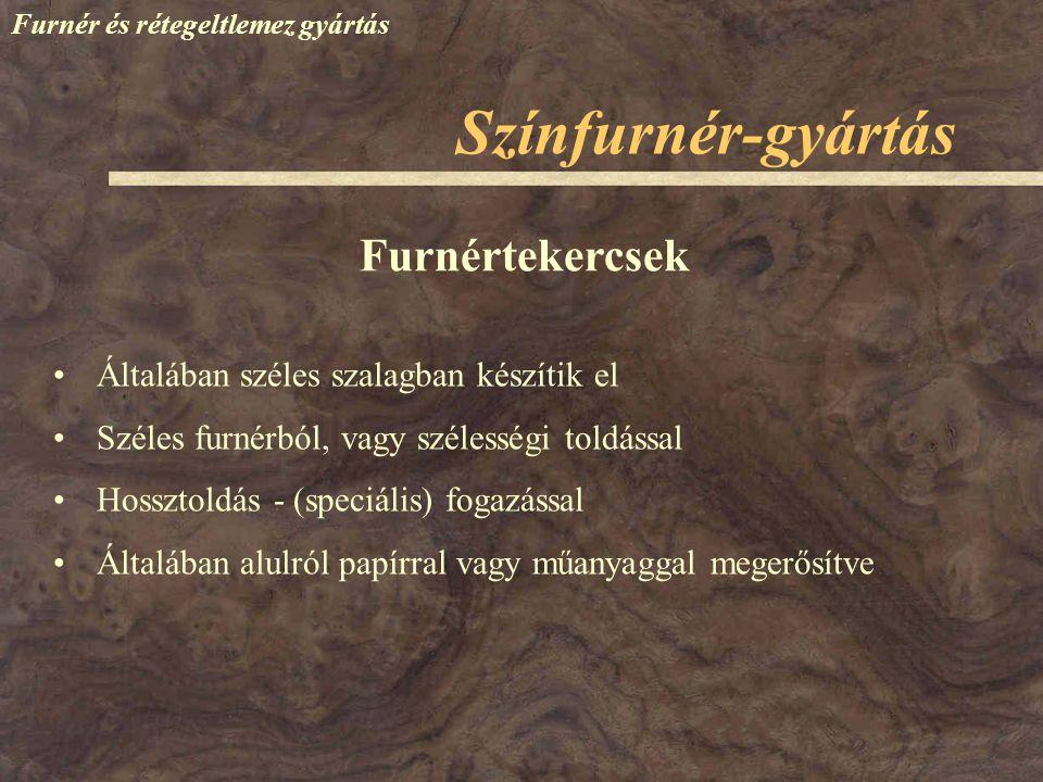 Színfurnér-gyártás Furnértekercsek