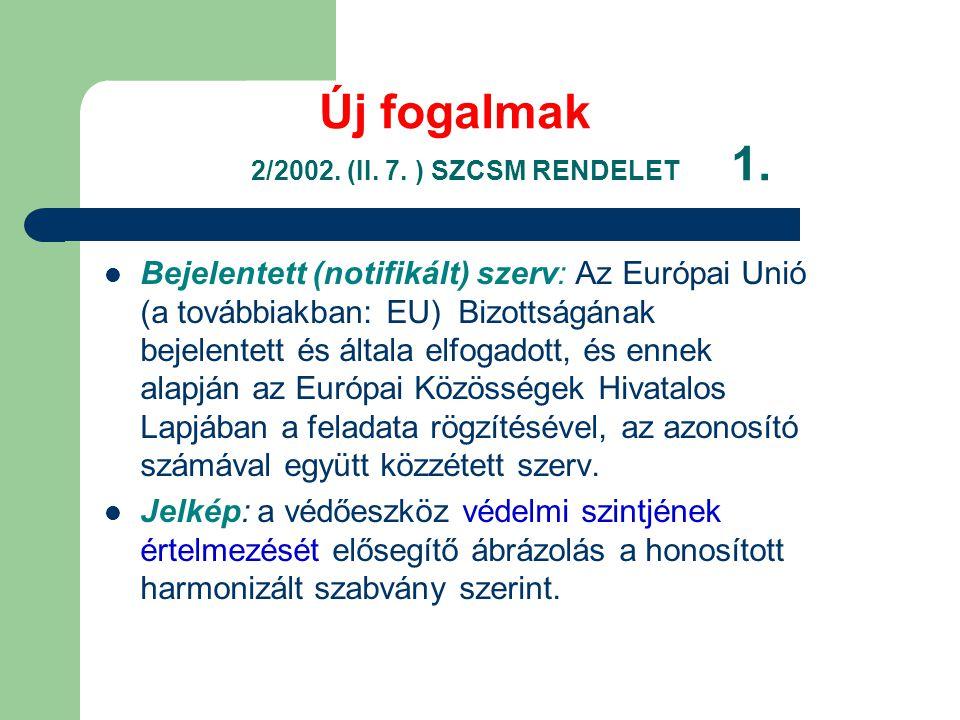 Új fogalmak 2/2002. (II. 7. ) SZCSM RENDELET 1.