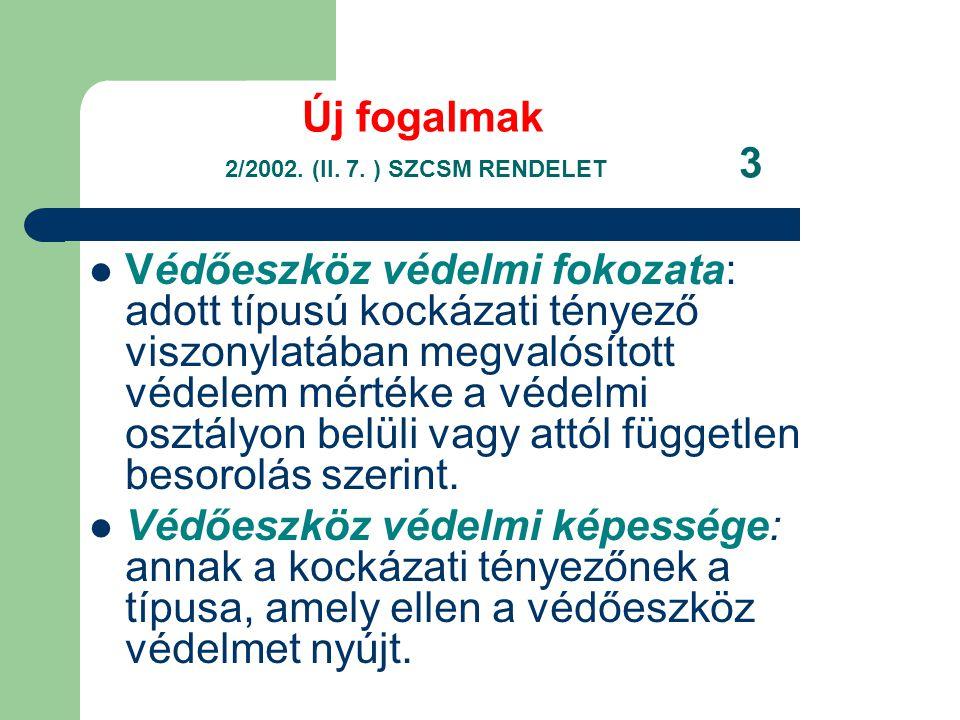Új fogalmak 2/2002. (II. 7. ) SZCSM RENDELET 3