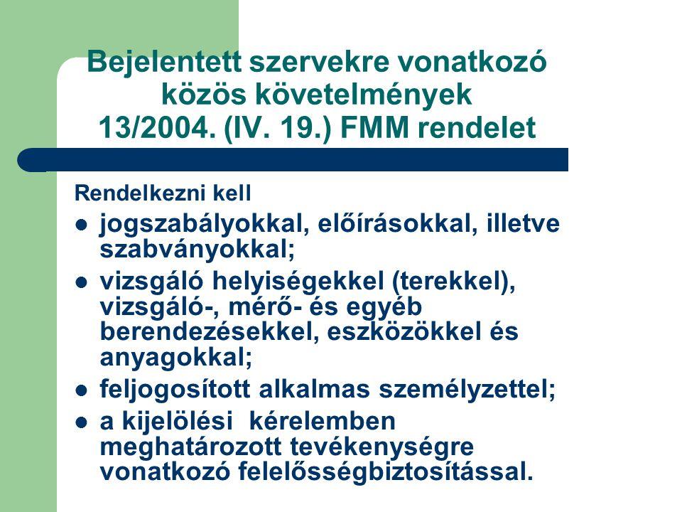 Bejelentett szervekre vonatkozó közös követelmények 13/2004. (IV. 19
