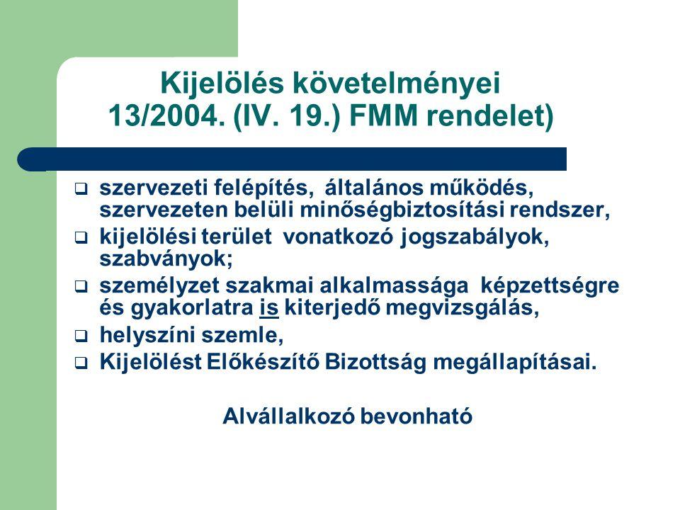 Kijelölés követelményei 13/2004. (IV. 19.) FMM rendelet)