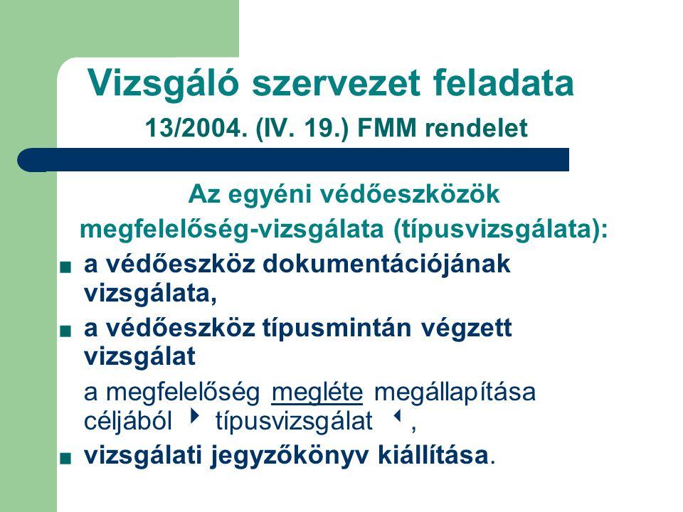 Vizsgáló szervezet feladata 13/2004. (IV. 19.) FMM rendelet