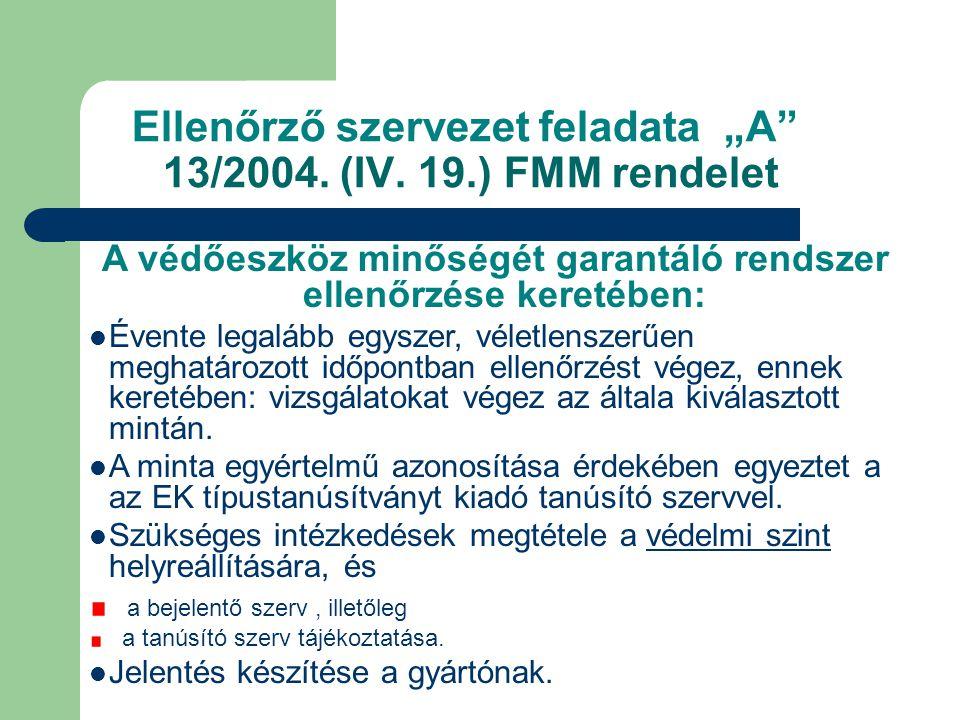"""Ellenőrző szervezet feladata """"A 13/2004. (IV. 19.) FMM rendelet"""