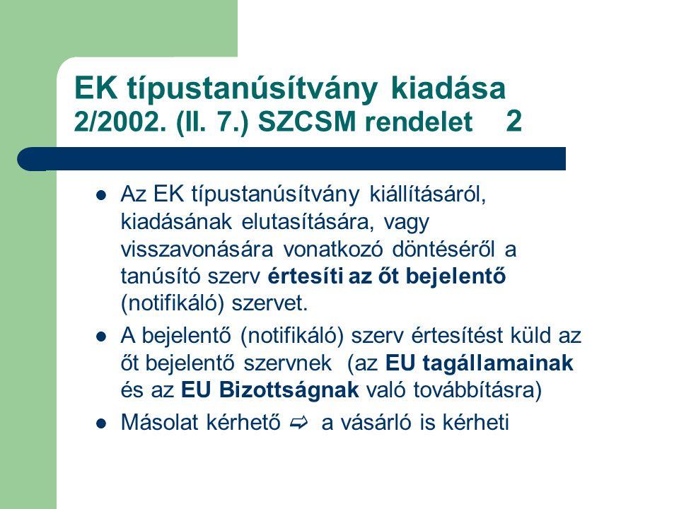 EK típustanúsítvány kiadása 2/2002. (II. 7.) SZCSM rendelet 2