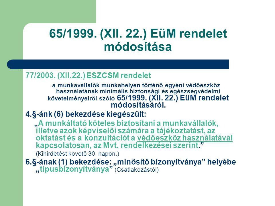 65/1999. (XII. 22.) EüM rendelet módosítása