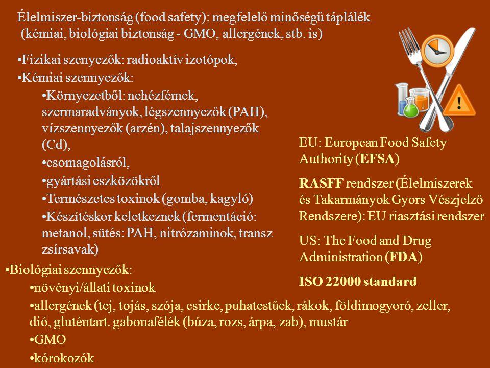 Élelmiszer-biztonság (food safety): megfelelő minőségű táplálék (kémiai, biológiai biztonság - GMO, allergének, stb. is)