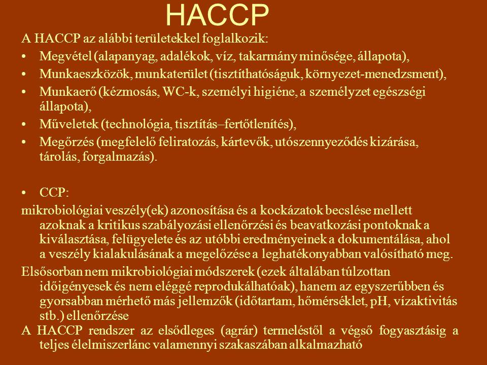 HACCP A HACCP az alábbi területekkel foglalkozik: