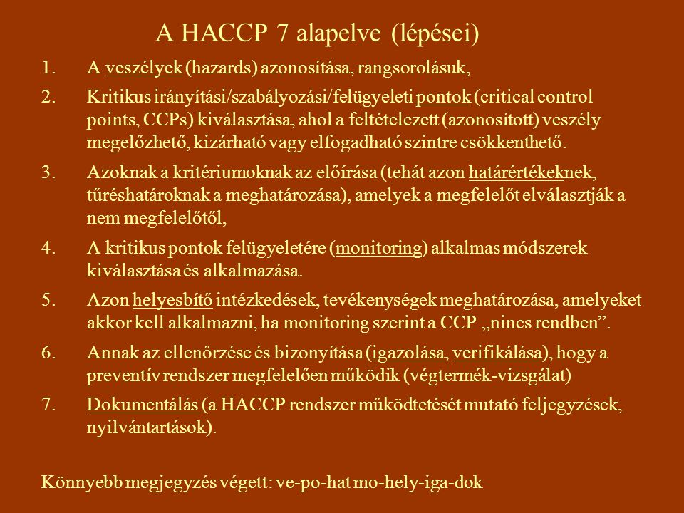 A HACCP 7 alapelve (lépései)
