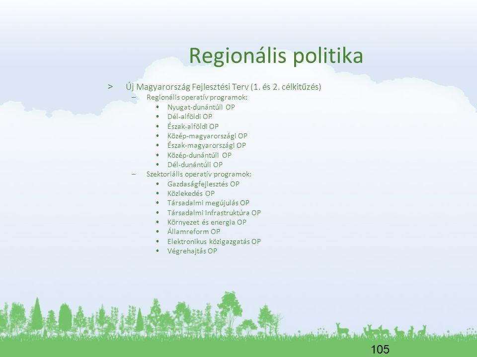 Regionális politika Új Magyarország Fejlesztési Terv (1. és 2. célkitűzés) Regionális operatív programok: