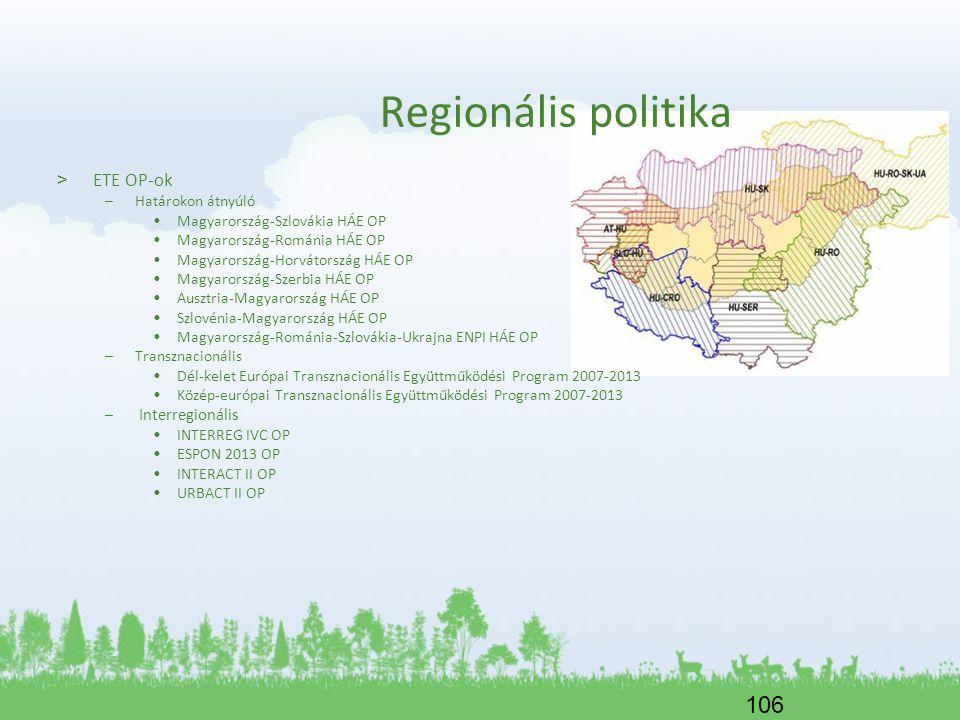 Regionális politika ETE OP-ok Határokon átnyúló
