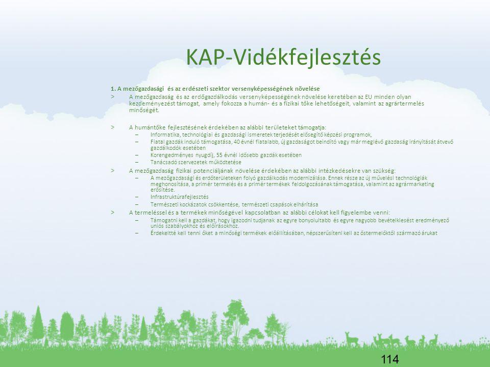KAP-Vidékfejlesztés 1. A mezőgazdasági és az erdészeti szektor versenyképességének növelése