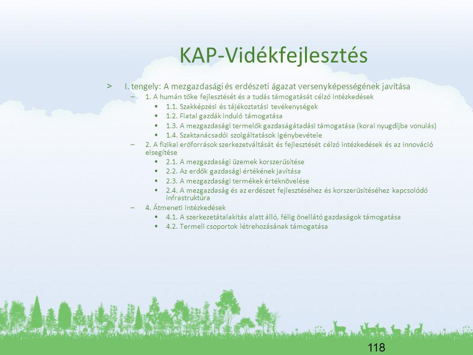 KAP-Vidékfejlesztés I. tengely: A mezgazdasági és erdészeti ágazat versenyképességének javítása.